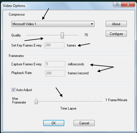 CamStudio: настройки видео