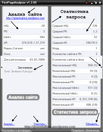 FirstPageAnalyzer: анализ сайта и статистика запроса